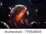 planet explosion. apocalypse in ... | Shutterstock . vector #770528035