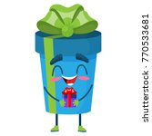 holiday blue gift box character ... | Shutterstock .eps vector #770533681