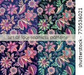 set of four floral seamless... | Shutterstock .eps vector #770536021