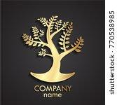 3d golden tree logo   Shutterstock .eps vector #770538985