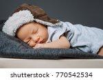 portrait of adorable sleeping... | Shutterstock . vector #770542534
