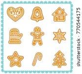 vector set of christmas cookies ... | Shutterstock .eps vector #770544175
