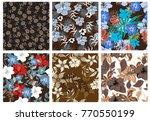 vector seamless pattern flowers ...   Shutterstock .eps vector #770550199