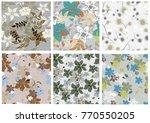 vector seamless pattern flowers ...   Shutterstock .eps vector #770550205