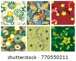 vector seamless pattern flowers ... | Shutterstock .eps vector #770550211