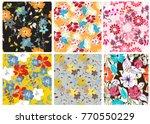 vector seamless pattern flowers ...   Shutterstock .eps vector #770550229