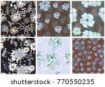 vector seamless pattern flowers ...   Shutterstock .eps vector #770550235