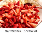 tasty strawberry dessert in a bowl - stock photo