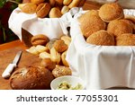 different fresh breakfast rolls on a table - stock photo