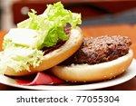 closeup of a fresh organic hamburger - stock photo