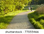 Stock photo elderly couple take a stroll in the park 77055466