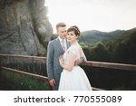 beautiful wedding couple  bride ... | Shutterstock . vector #770555089