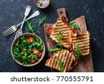 grilled bacon  mozzarella... | Shutterstock . vector #770555791