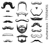 set of mustache and funny beard ... | Shutterstock .eps vector #770556931