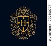 heraldry vector letter h | Shutterstock .eps vector #770560777