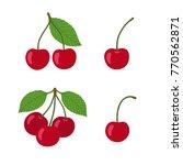 ripe cherries on a white... | Shutterstock .eps vector #770562871