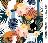 tropical seamless pattern with... | Shutterstock .eps vector #770567539