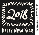 happy new year 2018 calligraphy ... | Shutterstock .eps vector #770571295