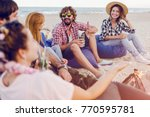 happy friends having party on... | Shutterstock . vector #770595781