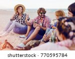 group of friends having party... | Shutterstock . vector #770595784