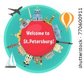 st. petersburg famous landmarks ... | Shutterstock .eps vector #770600911
