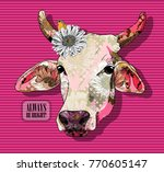 vector cow with flower. hand... | Shutterstock .eps vector #770605147