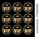 set of nine gold round vip... | Shutterstock .eps vector #770605384