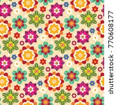 bright mexican folk seamless... | Shutterstock .eps vector #770608177