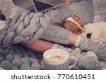 cozy home  warm blanket  hot... | Shutterstock . vector #770610451