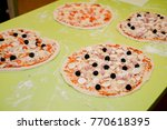 Preparation Pizza With Various...