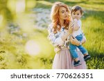 beautiful red haired woman with ... | Shutterstock . vector #770626351