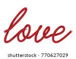 cursive red love ribbon | Shutterstock .eps vector #770627029