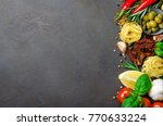 traditional italian food on a... | Shutterstock . vector #770633224