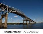 Calcasieu River World War II Memorial Bridge connecting Lake Charles and Westlake, Louisiana / USA.