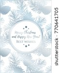 template of snowy greeting card ... | Shutterstock .eps vector #770641705