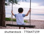 abstract alone kid playing... | Shutterstock . vector #770647159
