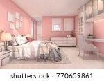 3d rendering beautiful pink... | Shutterstock . vector #770659861
