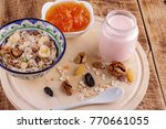 healthy breakfast. ceramic bowl ... | Shutterstock . vector #770661055