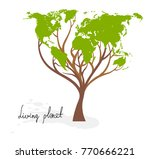 tree with world map  on white... | Shutterstock .eps vector #770666221