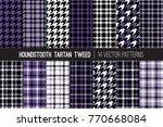 ultra violet houndstooth tartan ... | Shutterstock .eps vector #770668084