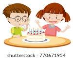 kids blowing cake on birthday...   Shutterstock .eps vector #770671954