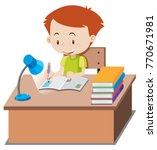 little boy doing homework on... | Shutterstock .eps vector #770671981