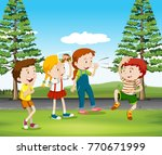 children playing monkey in the... | Shutterstock .eps vector #770671999