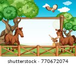 Wooden Frame With Horses And...
