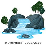 scene with waterfall and river... | Shutterstock .eps vector #770672119