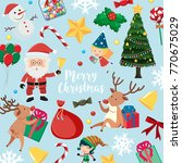 christmas card with santa and... | Shutterstock .eps vector #770675029