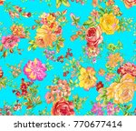 flower pattern with background | Shutterstock . vector #770677414