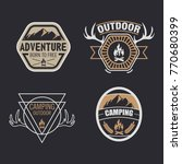 set of vintage camping  outdoor ... | Shutterstock .eps vector #770680399