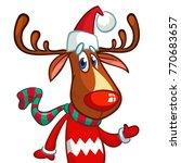 Christmas Reindeer In Santa...