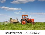 Old Red Tractor Spraying Crops...